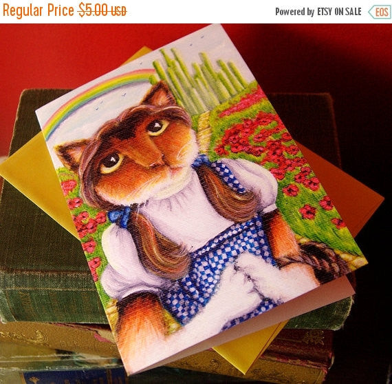 ON SALE Dorothy, Wizard of Oz, Cat Art 5x7 Blank Greeting Card