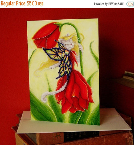 ON SALE Tulip Fairy Cat Fantasy Art 5x7 Blank Greeting Card