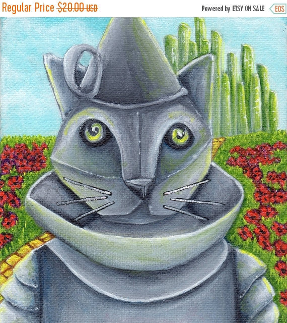 ON SALE Wizard of Oz, Tin Man Cat, Emerald City Yellow Brick Road, Cat Art Print