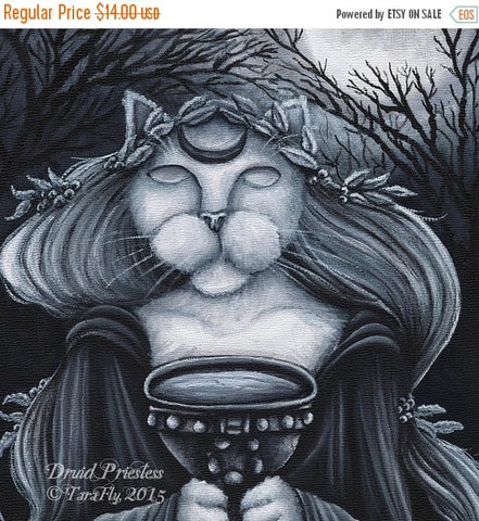 ON SALE Druid Priestess Cat Art, Oracle, Seer Fantasy 5x7 Print