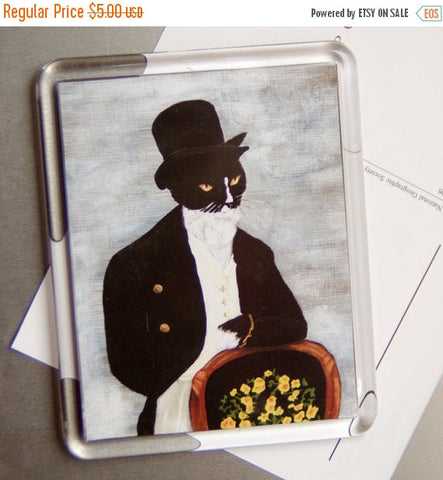 ON SALE Tuxedo Cat Magnet, Mr Darcy Cat, Fancy Dressed Cat Refrigerator Magnet