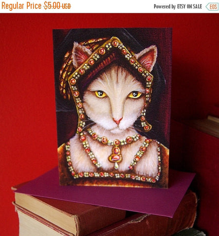 ON SALE Tudor Cat Card, Jane Seymour Cream Cat, 5x7 Blank Greeting Card, Six Wives of Henry VIII