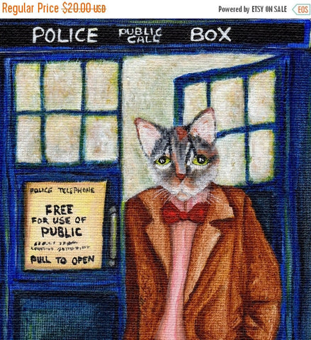 ON SALE Dr Who Cat, Grey Tabby Cat in TARDIS Starry Night, Doctor Cat Fine Art Print 8x10