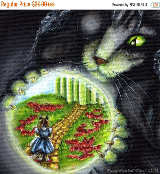 ON SALE Wizard of Oz Cats, Wicked Witch Cat of the West, Dorothy in Crystal Ball 8x10 Art Print