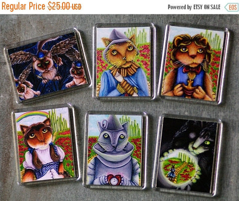 ON SALE Wizard of Oz Cat Magnets, Set of 6 Main Characters as Cats Fridge Magnets