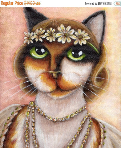ON SALE Great Gatsby Cat Art, Daisy Buchanan Calico Cat Portrait, 5x7 Fine Art Print
