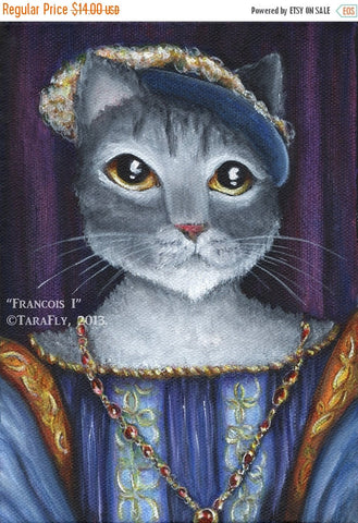 ON SALE Grey Cat Art, Francois I King of France Medieval Portrait, 5x7 Fine Art Print