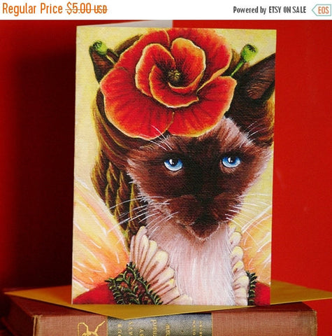 ON SALE Siamese Cat Card, Poppy Fairy Fantasy Flower Cat Art, 5x7 Blank Greeting Card