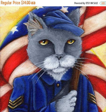 ON SALE Civil War Cat Union Soldier American Flag 5x7 Art Print