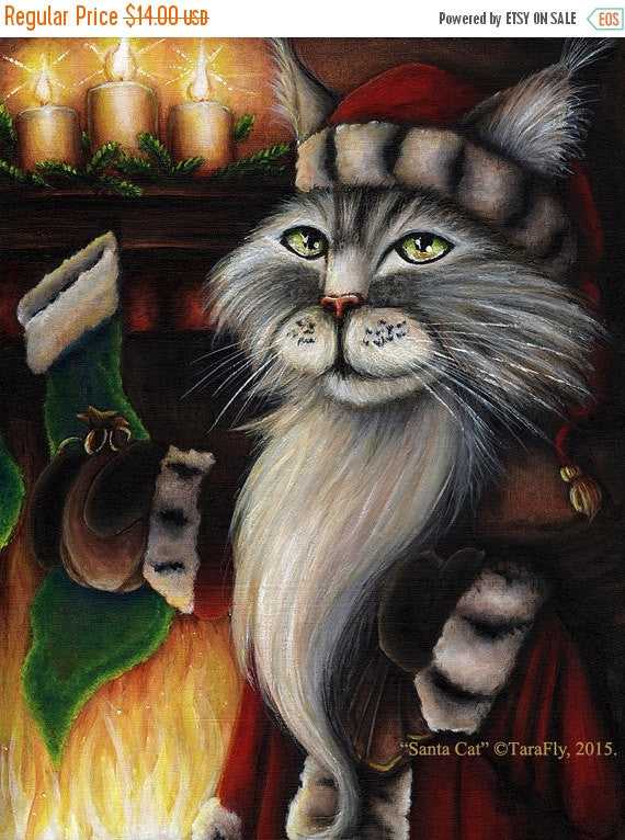 ON SALE Santa Cat Fireplace Christmas Stocking, 5x7 Holiday Fine Art Print