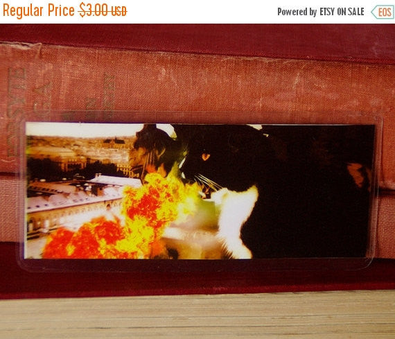 ON SALE Dragon Cat Bookmark, Tuxedo Cat Breathing Fire Over Paris Paper Bookmark