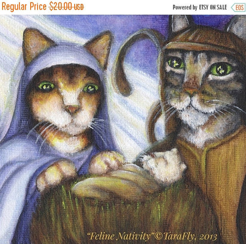 ON SALE Christmas Nativity Cats, Mary Joseph and Baby Jesus in Manger 8x10 Art Print