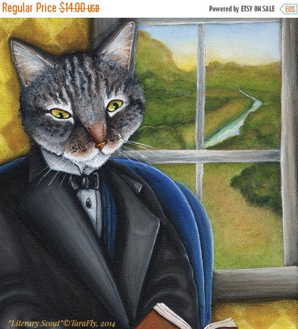 ON SALE Literary Cat Art, Grey Tabby Cat Reading Book by Window 5x7 Art Print