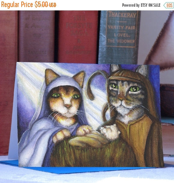 ON SALE Feline Nativity Card, Cats Dressed as Mary, Joseph, and Baby Jesus, Christmas Card