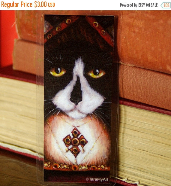 ON SALE Catherine Aragon Cat Bookmark, Tudor Cats, King Henry VIII Wives Tuxedo Cat