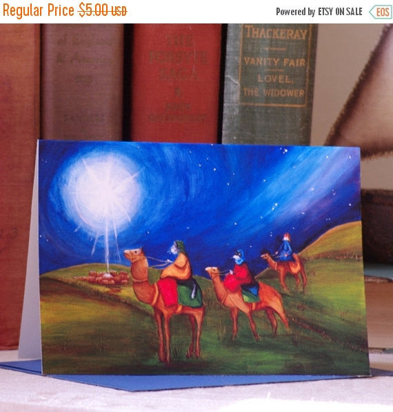 ON SALE Christmas Card, Three Wise Men, Star of Bethlehem Cat Art 5x7 Blank Greeting Card