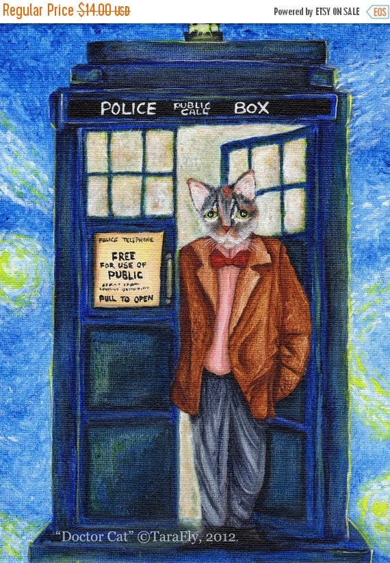 ON SALE Dr Who Cat, Grey Cat in TARDIS Starry Night, Doctor Cat Fine Art Print 5x7