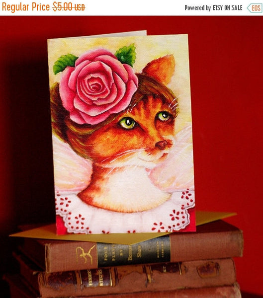 ON SALE Ginger Cat Card, Rose Fairy Fantasy Flower Cat Art, 5x7 Blank Greeting Card