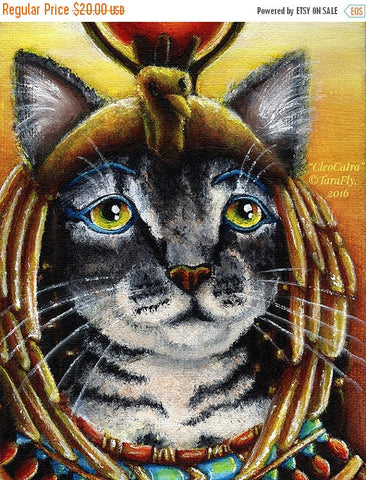 ON SALE Cleopatra Cat Queen of Egypt Fine Art Print 8x10