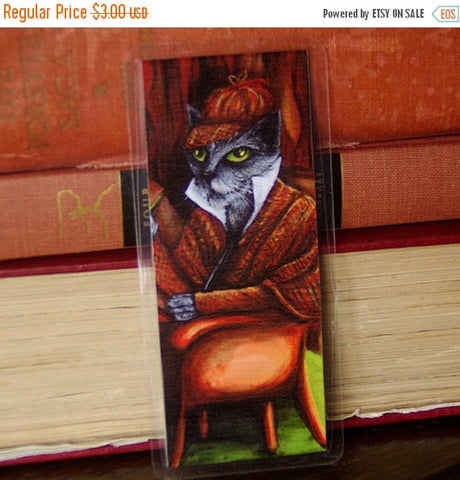 ON SALE Sherlock Holmes Cat Bookmark, Grey Cat Detective Paper Bookmark