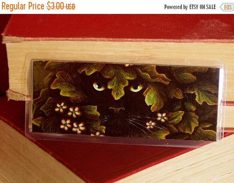 ON SALE Nature Cat Bookmark, Black Cat Greenman Face Leaves Paper Bookmark