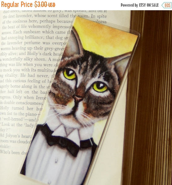 ON SALE Gatsby Cat Bookmark Brown Tabby Cat in Tuxedo Roaring 20s Inspired Bookmark