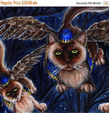 ON SALE Flying Monkey Cats, Wizard of Oz Cats Series, Winged Cats 8x10 Art Print
