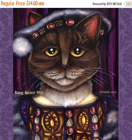 ON SALE King Henry VIII Cat Art, Brown Tabby Cat Dressed as Tudor King, 5x7 Fine Art Print