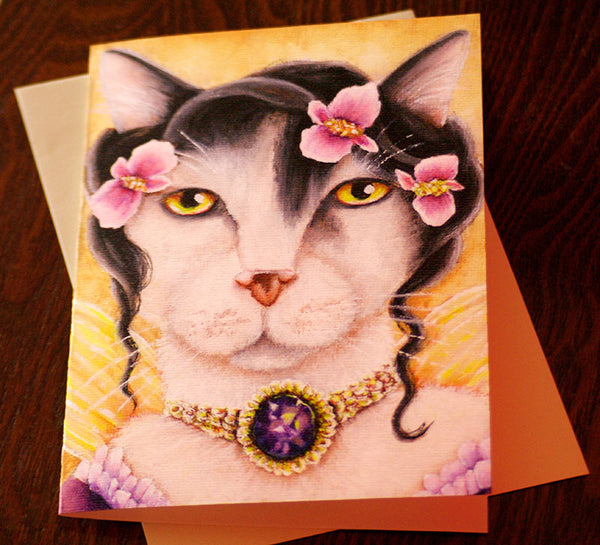 ON SALE Fairy Cat Card, Fantasy Begonia Flower Cat Art, 5x7 Blank Greeting Card