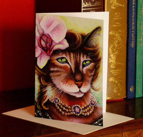 Orchid Flower Fairy Cat Greeting Card