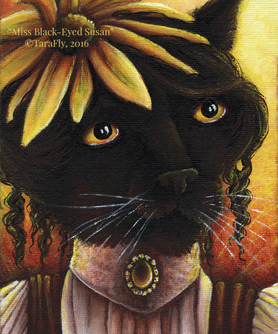 Black Eyed Susan Cat Fairy Fine Art Print