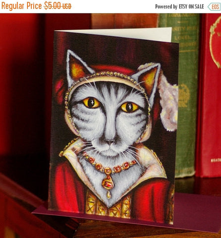 ON SALE Tudor Cat Card, Catherine Parr Silver Tabby Cat 5x7 Greeting Card