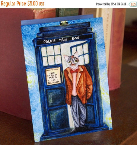 ON SALE Time Traveling Doctor Card, Grey Tabby Cat in Tweed Coat, Sci Fi Cat Art Greeting Card