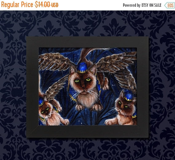 ON SALE Flying Monkey Cats, Wizard of Oz Winged Cats 5x7 Archival Art Print