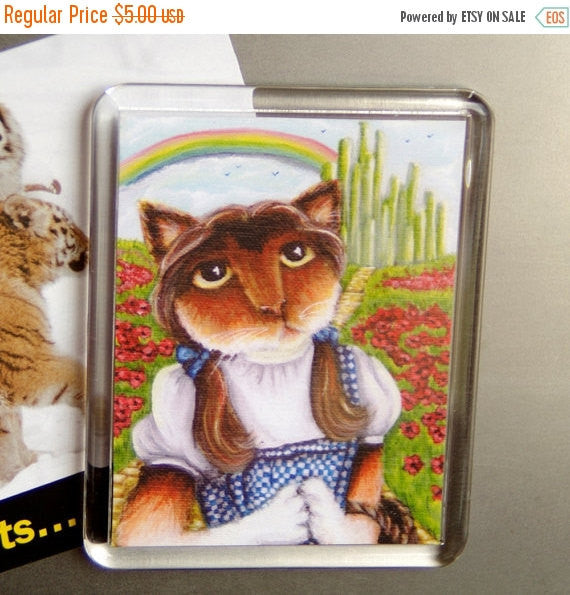 ON SALE Dorothy Calico Cat Wizard of Oz Emerald City Yellow Brick Road, Cat Fridge Magnet