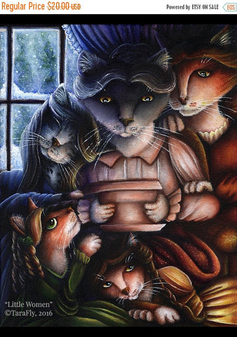 ON SALE Little Women Cats Mother and Daughters Family Fine Art Print 8x10