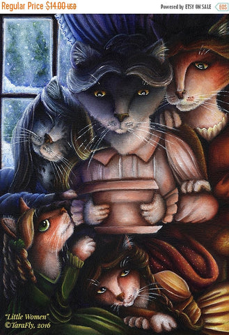 ON SALE Little Women Cats, Jo, Beth, Amy, Meg, March Family, Fine Art Print 5x7