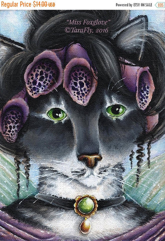 ON SALE Foxglove Fairy Cat Fantasy Art 5x7 Fine Art Reproduction Print