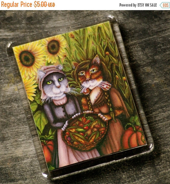 ON SALE Thanksgiving Cat Magnet, Colonial American Harvest Holiday Cat Art Fridge Magnet