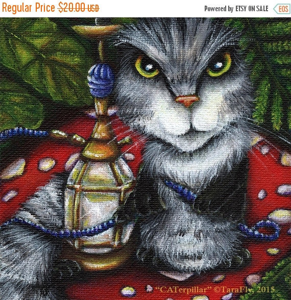 ON SALE Caterpillar Cat, Alice in Wonderland, Fantasy Cat Art 8x10 Fine Art Print