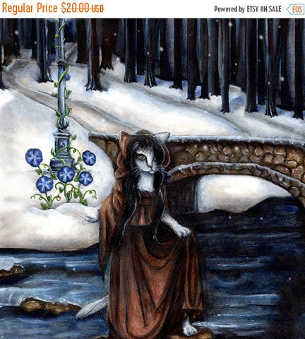ON SALE Fantasy Cat Art Winter in the Woods Bridge Lamppost 8x10 Fine Art Print