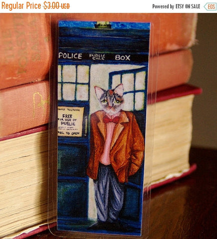 ON SALE Time Travelling Doctor Cat Bookmark, Tabby Wearing Bow Tie, Police Box Paper Bookmark
