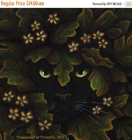 ON SALE Greenman Cat Spirit of the Forest 5x7 Fantasy Fine Art Print