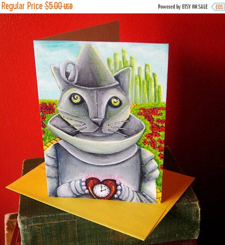 ON SALE Tin Man Cat, Wizard of Oz, Cat Art 5x7 Blank Greeting Card