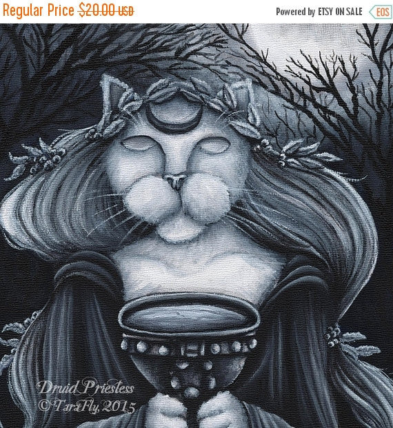 ON SALE Druid Priestess Cat 8x10 Cat Art Print