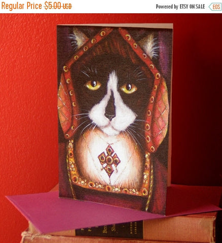ON SALE Tudor Cat Card, Catherine of Aragon Tuxedo Kitty 5x7 Blank Greeting Card