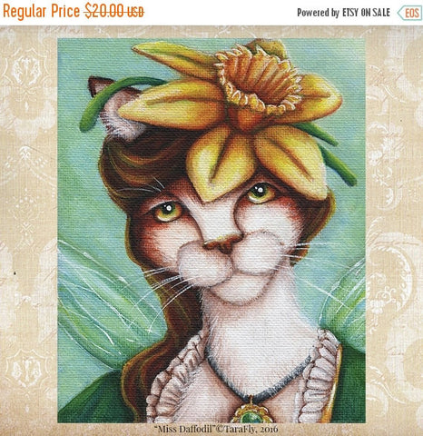 ON SALE Daffodil Fairy Cat, Flower Fantasy Art, 8x10 Archival Reproduction Print