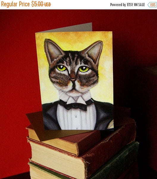 ON SALE Jay Gatsby Cat 5x7 Blank Greeting Card, Grey Tabby in Tuxedo Suit