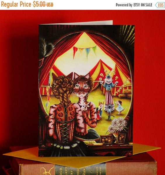 ON SALE Circus Cats 5x7 Blank Greeting Card, Big Top Tent Entertainers