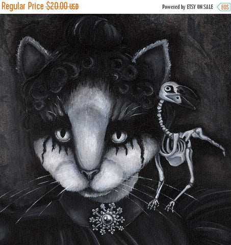 ON SALE Gothic Cat Art, Creepy Cat and Dead Raven Skeleton, Black and White 8x10 Fine Art Print